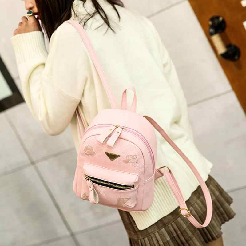 Zipper Backpack Women Fashion Small PU Leather Shoulder Bag for Girs Travel Casual School Bags Teenage Solid Casual Backpack