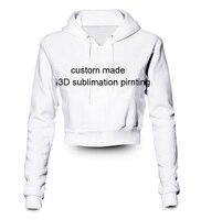 Herhangi bir renk herhangi kendi tasarımları baskı Özel yapılmış 3D Sublime Baskı kadın mahsul hoody/hoodie Artı Boyutu Giyim
