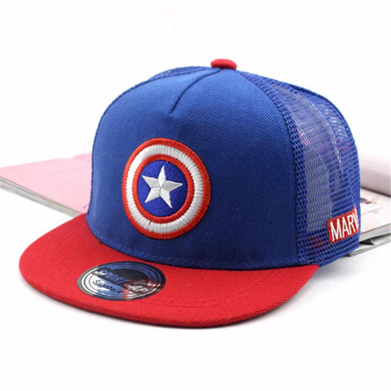 4575600802e Children s Hip Hop Cap Captain America Logo Embroidery Children s Mesh cap  Baseball Cap Fashion 3-