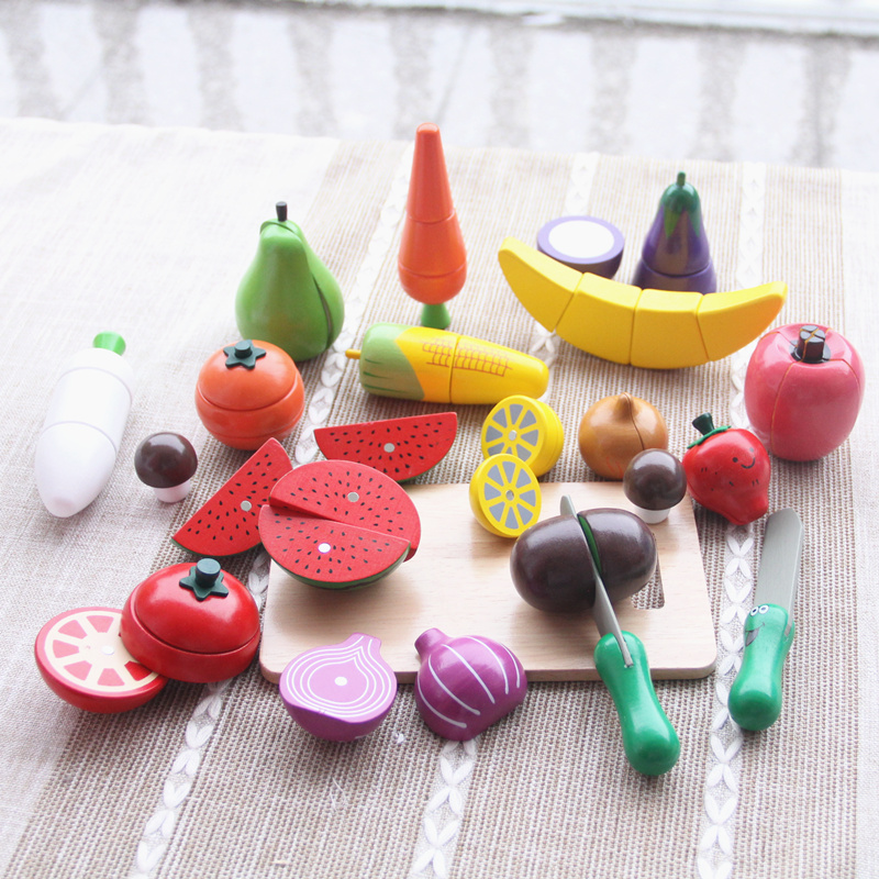 Baby Toys Simulation Strawberry 20Pcs Vegetable/Fruit Cutting Wooden Toys Kitchen Food Toys Pretend Play Child Educational Gift baby toys japan simulation electric rice cooker bowl wooden toys food pretend play baby simulation kitchen toy set birthday gift