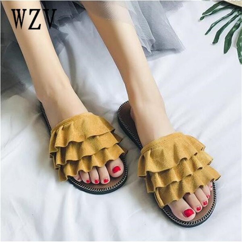 Summer 2018 Women Sandals Flips Flops Style Shoes Woman Wedges Sandals Fashion lace Platform Female Slides Ladies Shoes F116 6cm high heels women slides ladies slippers sandals flips flops 2018 summer beach platform shoes woman fashion comfortable flats page 4