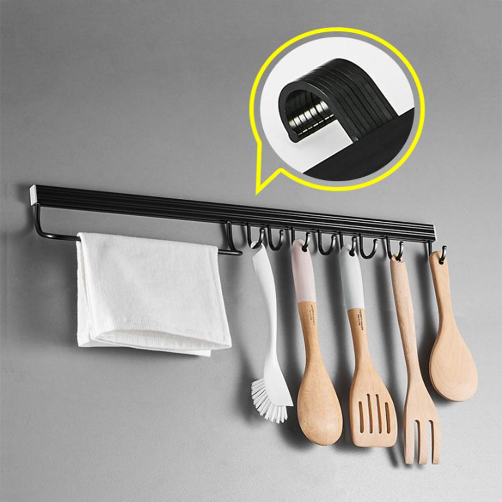 Wall Mounted Black Space Aluminum Kitchen Rack Pantry Tool Holder Single Bar Easy Storage Knife  Strip For Utensil Tool Sundry
