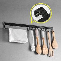 Wall mounted preto espaço de alumínio cozinha rack despensa ferramenta titular única barra fácil tira faca armazenamento para utensílio ferramenta diversos