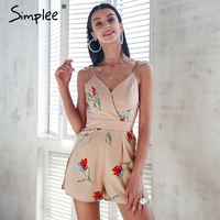 Simplee Sexy V Neck Print Boho Jumpsuit Romper Backless Tie Up Short Jumpsuit Women Pleated High