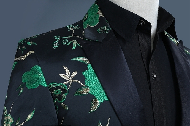 PYJTRL 2018 New Mens Fashion Gold Green Red Jacquard Embroidery Woodpecker Pattern Suit Jacket Blazer Stage Clothes For Singers
