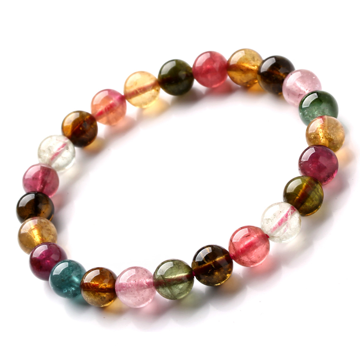 Tourmaline Bracelet Female Color Tourmaline Single-loop Hand StringTourmaline Bracelet Female Color Tourmaline Single-loop Hand String
