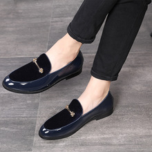 2019 Pointed Toe Dress Shoes Men Loafers Patent Leather Oxford Shoes for Men