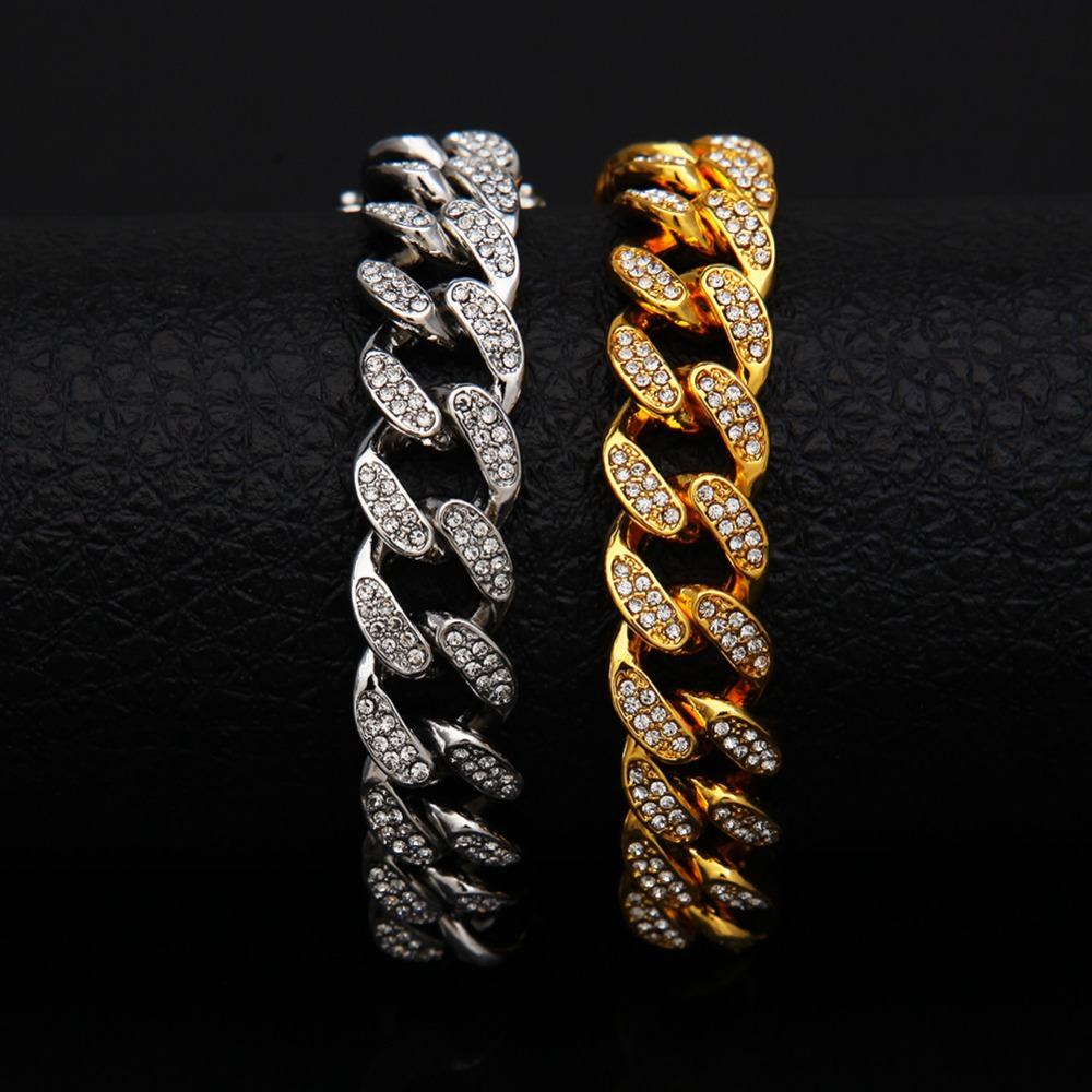 13mm Iced Out Cuban Necklace Chain Hip hop Jewelry Choker Gold Silver Rhinestone CZ Clasp for Mens Rapper Fashion Necklaces Link 3