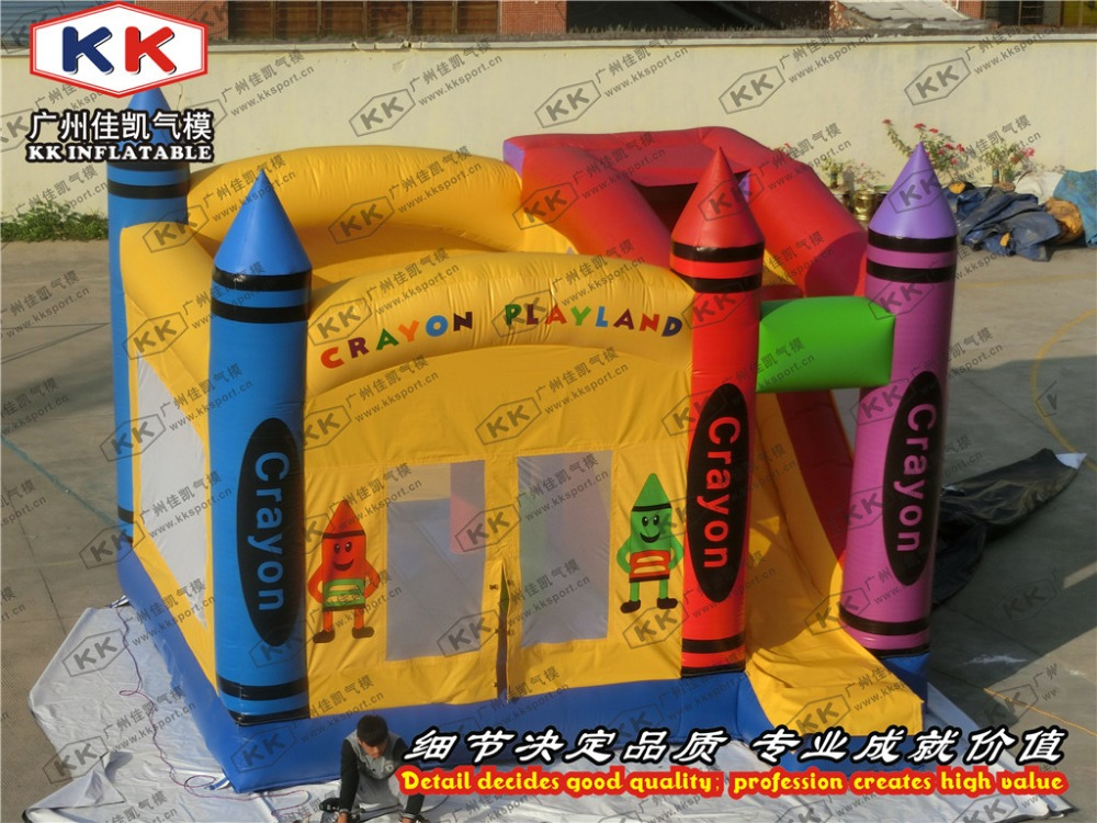 crayon inflatable moonwalk jumping bouncer combo kids birthday party use crayon