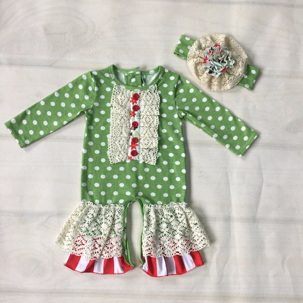 Wholesale Price Baby   Romper   Long Sleeve Green Ruffles Newborn Knitted Cotton   Romper   FInfant Baby jumpsuit Matching Headwear