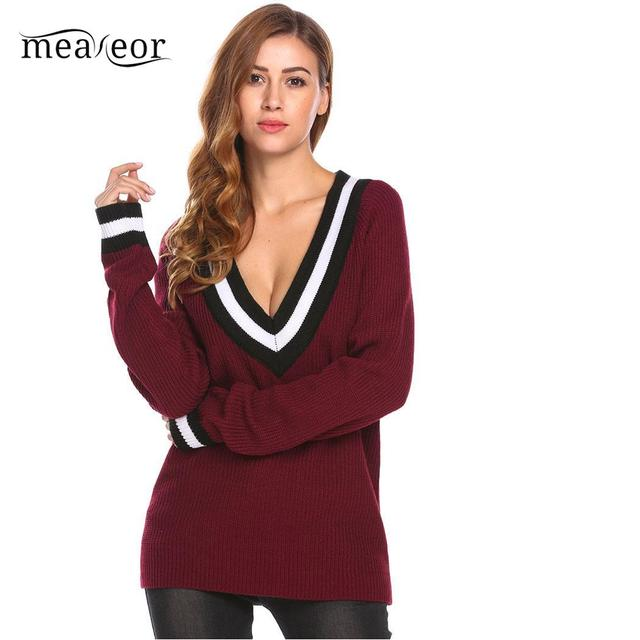fdb4aec8c Meaneor Contrast Color Women Sweater Fit V-Neck Loose Women Pullover  Fashion Long Sleeve Autumn Sweaters Patchwork Causal Tops