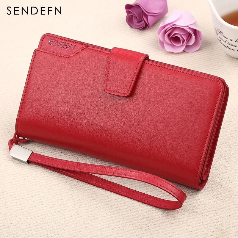 Купить с кэшбэком Fashion Genuine Leather Women Wallet Long Lady Purse SENDEFN High Quality Female Clutch Card Holder Phone Pocket Red/Pink