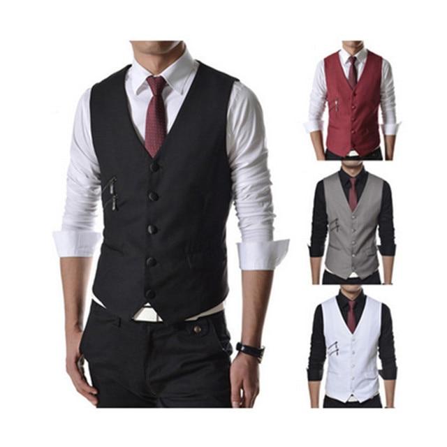 80eb8ea150a48 Moda hombres de los trajes chaleco delgado del vestido chalecos chaleco de hombre  hombres armarios de