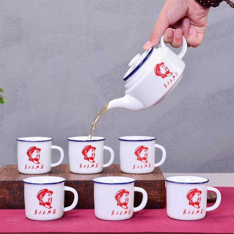 Ensemble de thé en céramique Kung Fu antique tasse à thé nostalgie imitation émail ensemble de thé cadeau personnalisé un pot de six tasses