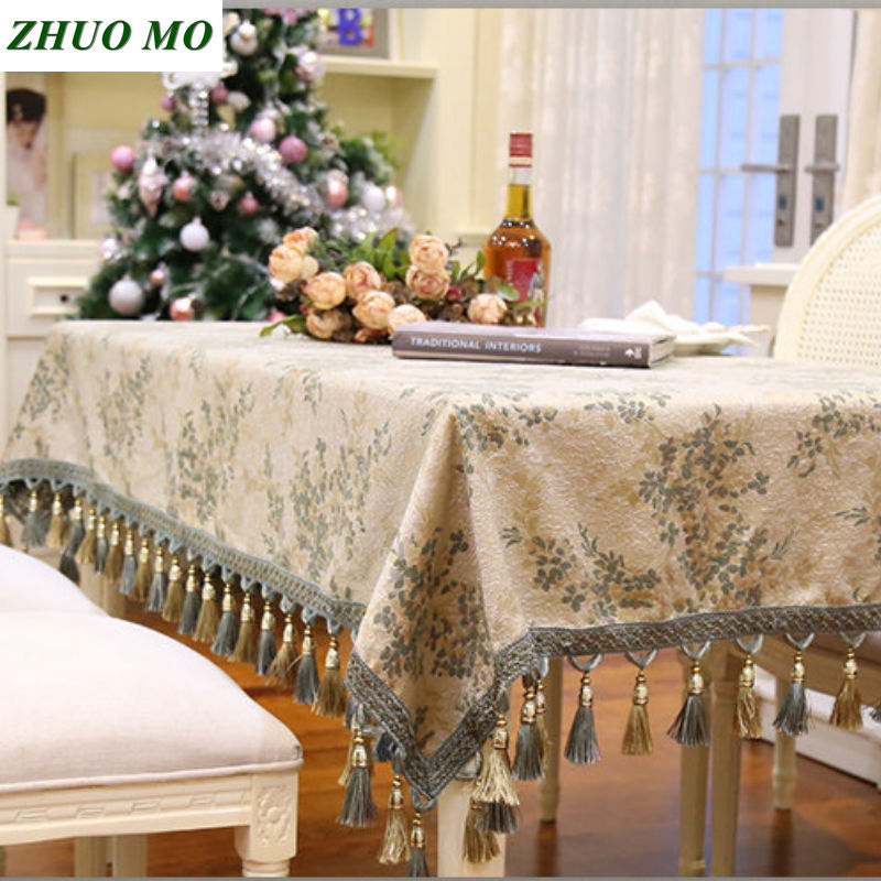ZHUO MO Tassel Table Cloth Rectangular Edge Covers for home Decoration Towel Home Textile Decorative