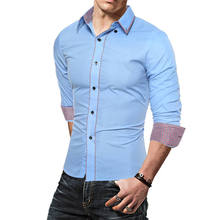 New Men's Casual Business Shirt Splice Thin Long Sleeve Tops Shirts Black Navy Sky Blue Cotton Blend Men Clothing 1105