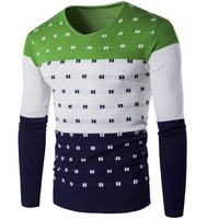 V Neck Men Sweaters Brand Mens Thin Pullovers Fashion Contrast Colors Design Sweater Knitwear For Man