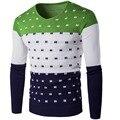 V Pescoço Blusas Homens Marca Mens Pullovers Moda Contraste de Cores Design Fino Malhas Camisola para Homem Primavera Roupas de Outono