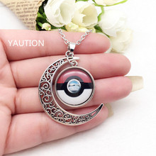 1Pcs Tibetan Silver Anime Pokemon Pokeball Glass Hollow Moon Shape Pendant Necklace;