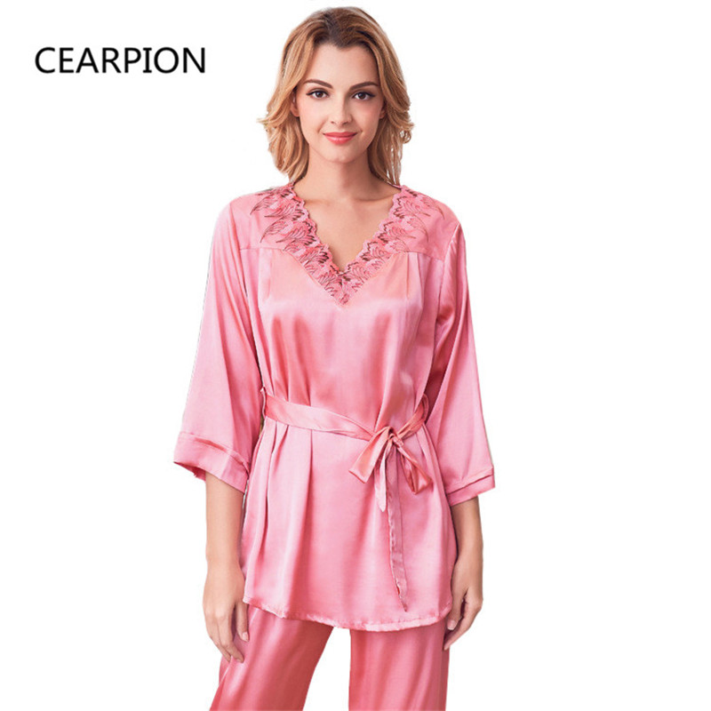 CEARPION ZSummer Satin Kimono Bath Robe Gown Sexy Pajamas Set Embroidery Floral 2PCS Sleepwear Lady Casual Home Clothes Negligee