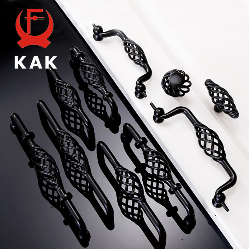 KAK 5PCS American Style Black Handles Hollow Out Birdcage Cabinet Handles Drawer Knobs Wardrobe Door Handles Furniture Handle