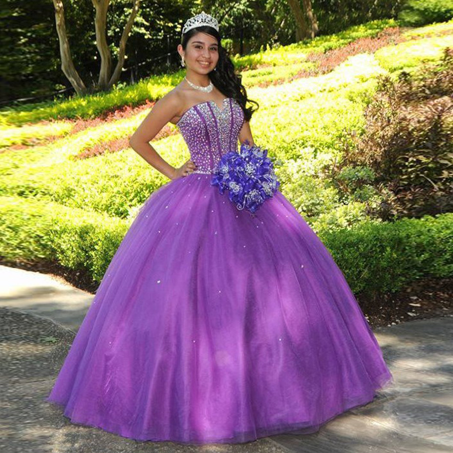 f4c5ffd2506 Vestidos De 15 Anos Purple Tulle V Neck Ball Gown Quinceanera Dresses 2018  Beaded Crystals Off Shoulder Sweet Dress For 15 16