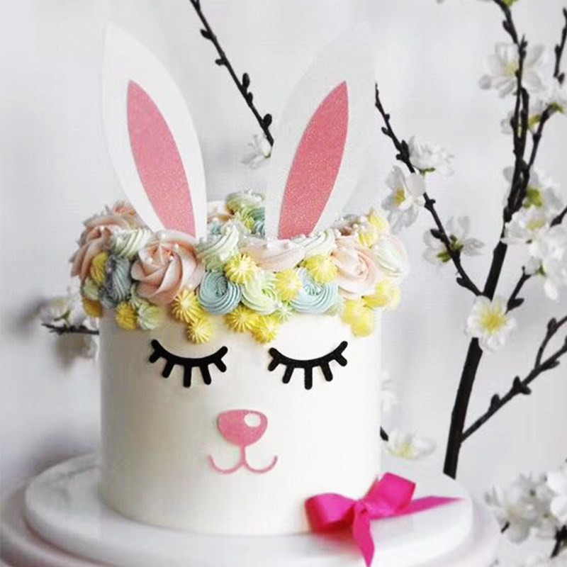 Fine Omilut Easter Birthday Party Rabbit Lovely Cake Topper Baby Shower Funny Birthday Cards Online Fluifree Goldxyz