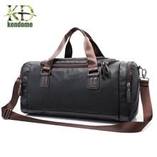Men's Large Capacity PU Leather Sports Bag Gym Bag