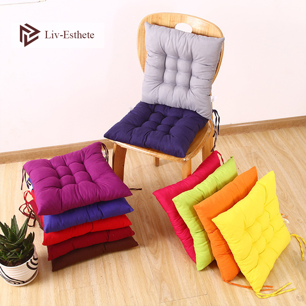 Liv-Esthete Seat Cushion Square Pillow Adult Living Room Kitchen Chair Cushion Back Solid Color Car Sofa Cushion Home Decoration
