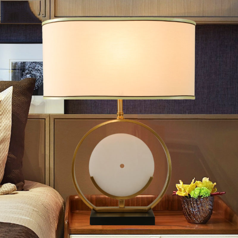 Современные мраморный настольная лампа 50 см большой абажур из металла настольная лампа E27 базы спальня ночники крытый гостиная спальня лам