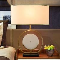 Modern Marble Table Lamp 50cm Big Lampshade Metal Table Lamp E27 Base Bedroom Bedside Lamp Indoor Living Room Bedroom Lamp
