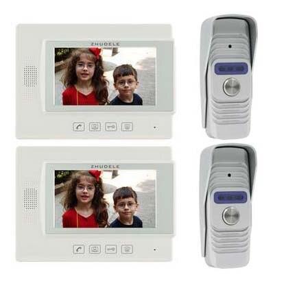 ZHUDELE Home Security Intercom Audio Doorbell for 2 Doors 7 Video Door Phone Doorbell 700TVL IR Camera w/t Waterproof Cover 2V2
