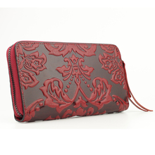 Premium 100% Genuine Leather Embossing Flower Women Wallets Large Capacity (6 colors)