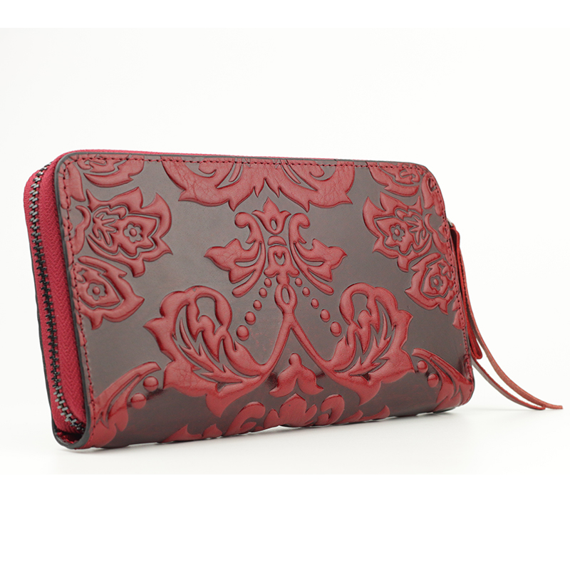Image 3 - Premium 100% Genuine Leather Embossing Flower Women Wallets Large Capacity  Female Purses 2020 Ladies Multi function Walletswomen walletswallet largewomens wallets large -
