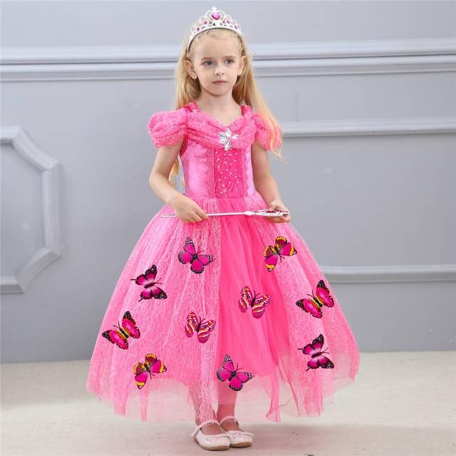 10885aaff54c2 placeholder Girls Aurora Princess Dress Butterfly Kids Tulle Dresses for  Girls 3 4 5 6 7 8