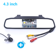 Car Rear View Camera+4.3 Inch HD Rearview Mirror Monitor Vehicle Auto Parking Reverse Image Display Screen Night Vision Camera