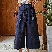 Original design high waist ningth pants Fashion women's casual wide leg pants A029