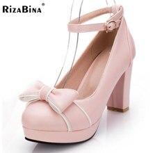 Rizabina Женские туфли-лодочки на высоком каблуке смешанные Цвет лоскутное пряжки Обувь женщин бантом модные на платформе Дамская Повседневная обувь размеры 34–39