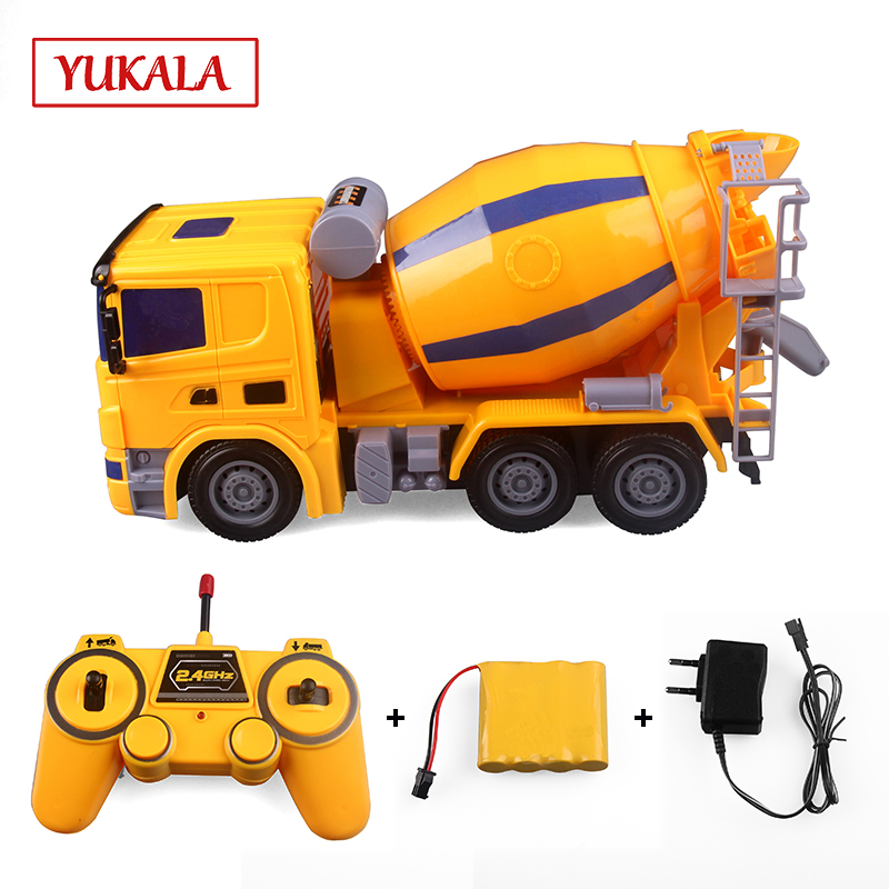 YKL Rc Truck Mixer Ready To Go Toy Remote Control Engineering Dump Truck Model Car Vehicle Toys for children boys Christmas gift 1 50 drill wagon alloy truck engineering vehicle toy car model dinky toys for children boys gift