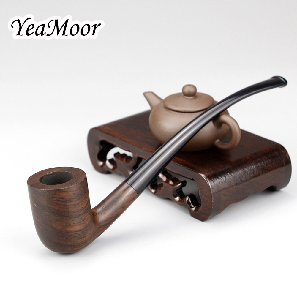 Vintage 17cm Long Smoking Pipe 3mm Filter Bent Wooden Pipe Tobacco Pipe free tools Ebony Wood Pipe Smoking Accessory|Shisha Pipes & Accessories| |  - title=