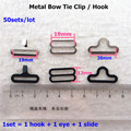 50 sets Metal Adjustable Bow Tie Hardware Necktie Hook Cravat Clips Fasteners to Make Adjustable Straps on Bow Tie dips
