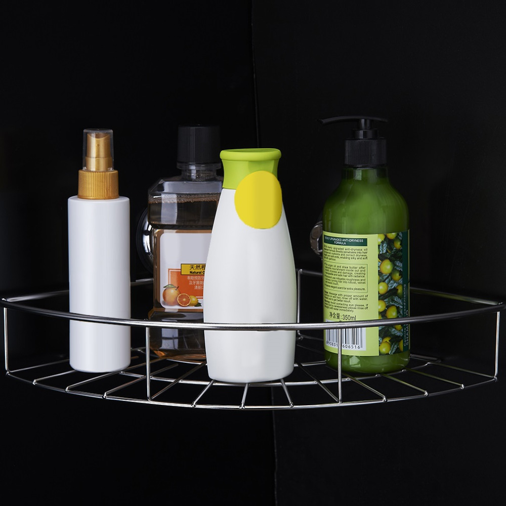 high quality Stainless Steel Kitchen Bathroom Square Storage Basket Vacuum Super Suction Cup Hook Holder Organizer Storage Shelf