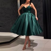 1eed2efff4c Fashion Dark Green Mid Calf Party Dresses For Women To Evening Party Pluze  Size Lace Up Tea Length Satin Puffy Prom Gowns