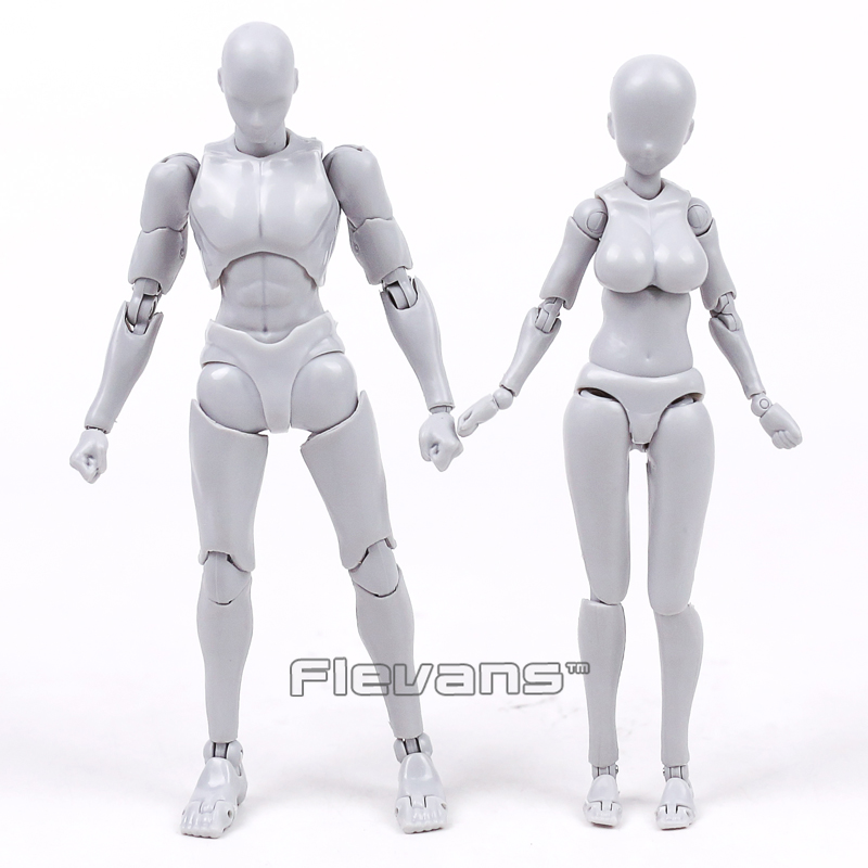 Anime SHFiguarts BODY KUN / CHAN DX SET Gray Color Ver. PVC Action Figure Collectible Model Toy 14cm 2 Styles shfiguarts superman shf figuarts in justice ver pvc action figure collectible model toy