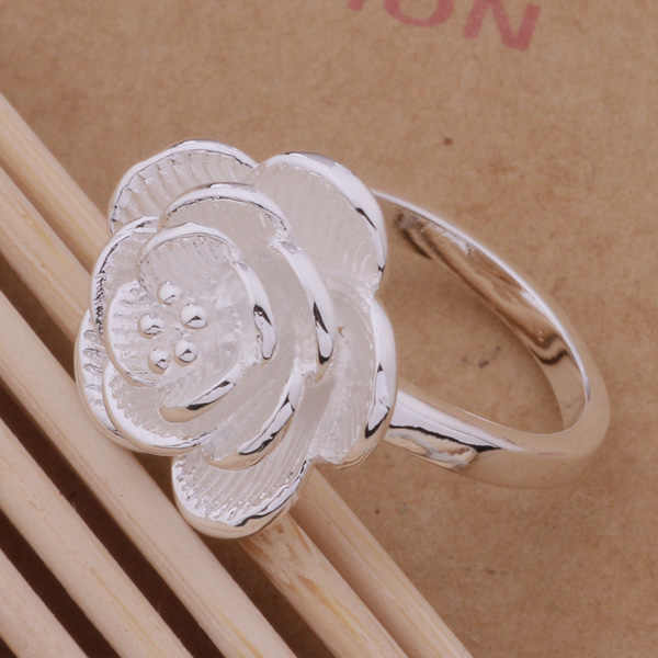 Fashion Jewelry Silver Flower Ring For WOmen Wedding Loving Gift AR206