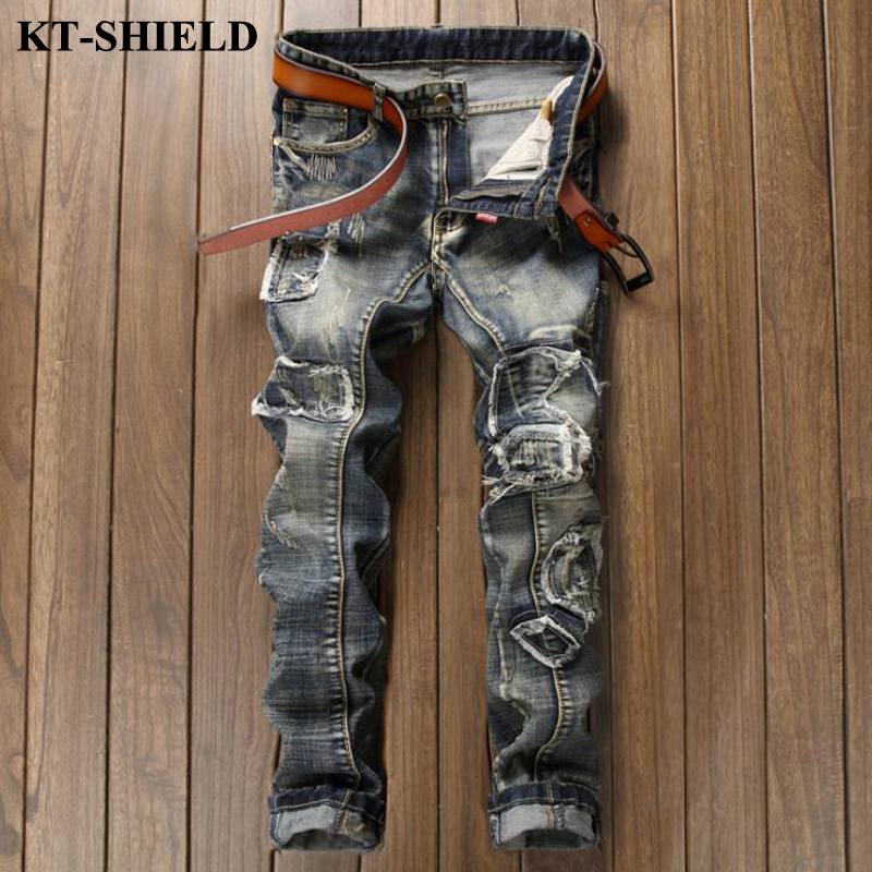 New Fashion Men Jeans Patchwork Slim fit Denim Jeans for Man Brand designer Vintage Casual Trousers