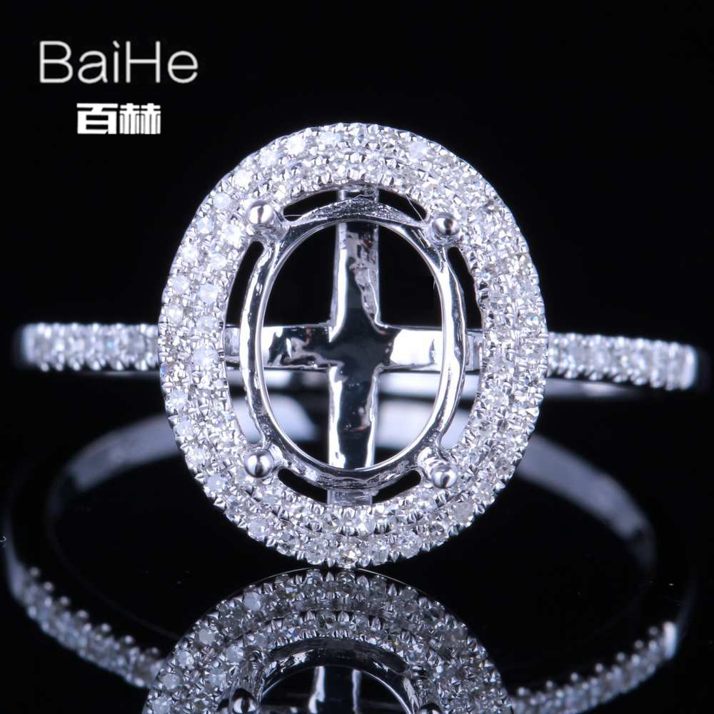 BAIHE Solid 14K White Gold(AU585) Certified Oval cut Wedding Women Cute/Romantic Fine Jewely Elegant unirque Semi Mount RingBAIHE Solid 14K White Gold(AU585) Certified Oval cut Wedding Women Cute/Romantic Fine Jewely Elegant unirque Semi Mount Ring