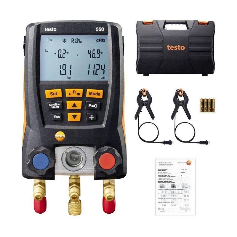 Testo 550 Numérique de réfrigération Kit de Collecteur 0563 1550 avec 2 pièces Pince Sondes Réfrigérant Électronique Compteur Ensemble