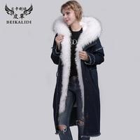 BEIKALIDI Women Real Rabbit Fur Parka Real Fur Coat With Real Raccoon Fur Collar Hooded Female Winter Denim Jacket Lady Overcoat