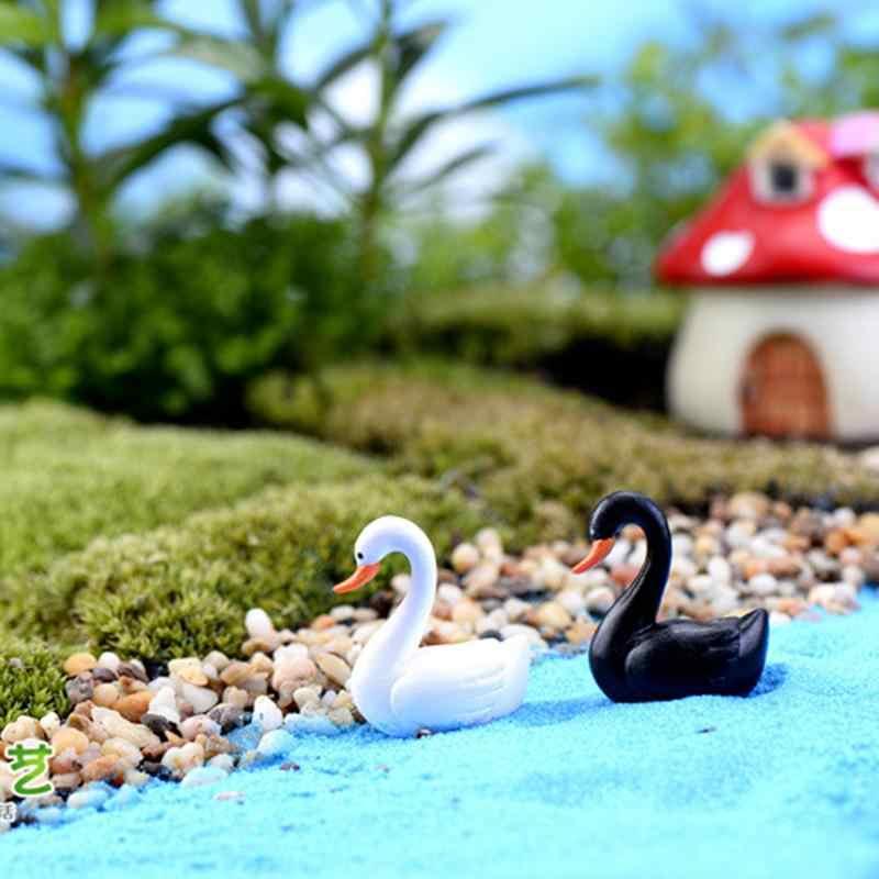 1 pcs 2x2.5 ซม.สีขาวสีดำ Swan Garden ตุ๊กตา House Miniature Figurine Plant Fairy Garden